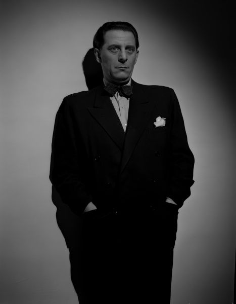 Charles Goldner as Colleoni the gangster in a portrait for the UK release of John Boulting's Brighton Rock (1947)