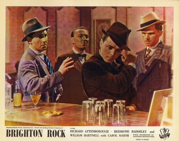 Alan Wheatley, William Hartnell and Richard Attenborough in a front of the house image for the release of Brighton Rock