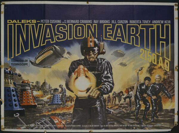 Original quad artwork for Gordon Flemyng's classic sci-fi title 'Daleks Invasion Earth 2150 AD' featuring Peter Cushing, Bernard Cribbins and Roberta Tovey