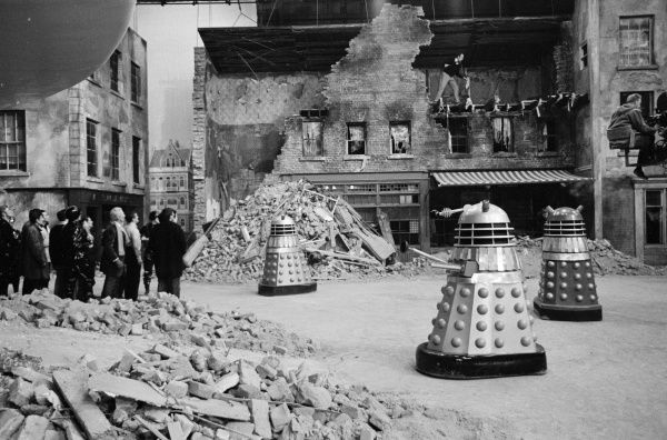Shooting a chase sequence on the set of Daleks Invasion Earth 2150 AD