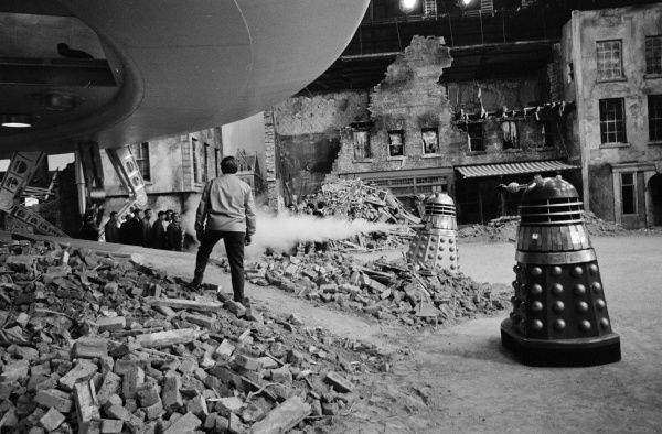 A scene from the set of Daleks Invasion Earth 2150 AD