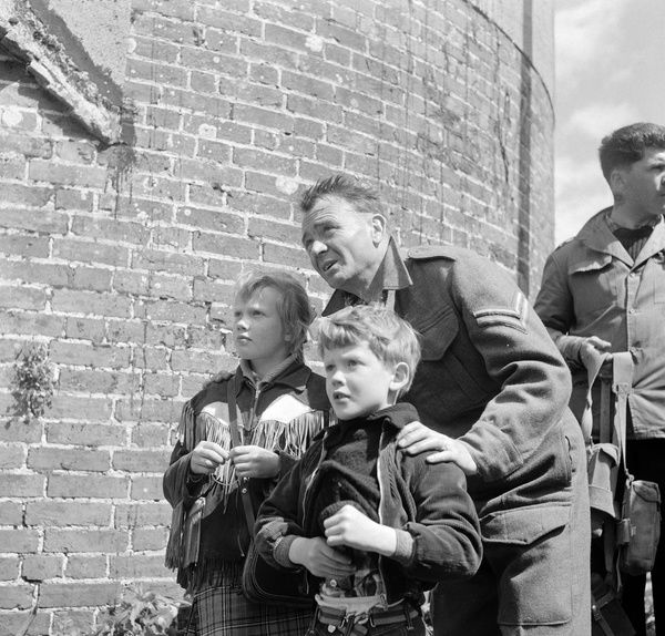 Actor John Mills on the set of Ealing Studios' Dunkirk with his children Hayley and Jonathan
