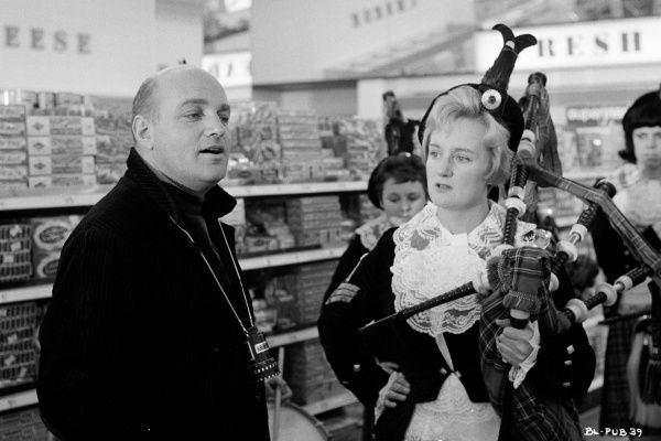 Director John Schlesinger sets up the Sumermarket sequence during the filming of his Billy Liar
