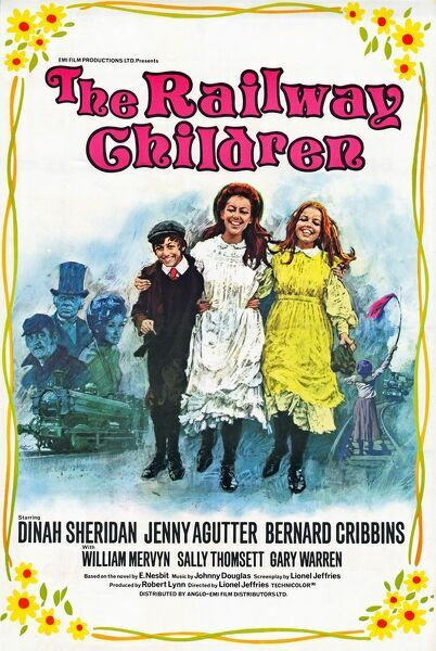 Original artwork for the release of Lionel Jeffries' The Railway Children (1970) featuring Jenny Agutter, Bernard Cribbins, Dinah Sheridan and William Mervyn