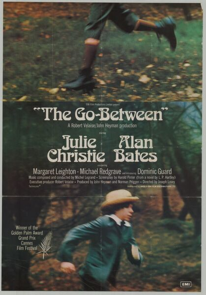Original poster artwork for Joseph Losey's 'The Go-Between' (1971) featuring Julie Christie and Alan Bates