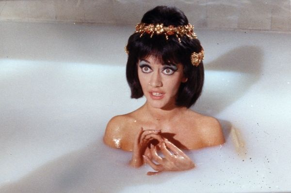 Amanda Barrie as Cleopatra in a bath scene from Gerald Thomas' Carry On Cleo shot at Pinewood Studios in 1964