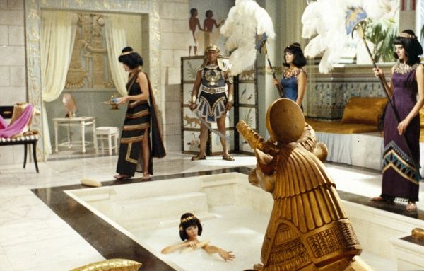 Amanda Barrie as Cleopatra in her milky bath with servants