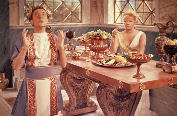 Kenneth Williams as Julius Caesar and Joan Sims as Calpurnia in a scene from the Gerald Thomas' comedy classic