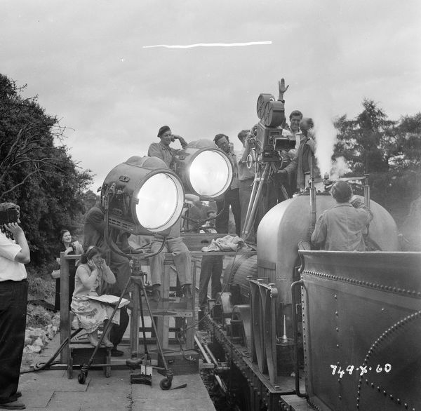with lighting and grips on location in 1952
