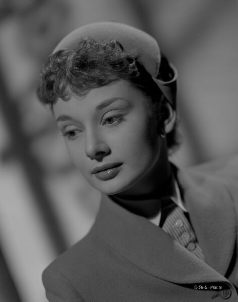 Audrey Hepburn as Eve Lester in a portrait taken for the release of ABPC's Young Wives' Tale (1951)