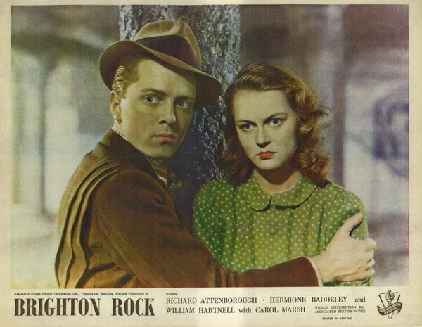 Richard Attenborough as Pinkie the gangster and Carol Marsh in a front of the house image for the UK release of John Boulting's Brighton Rock in 1947