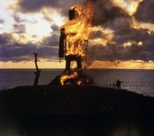 A colour production still image from The Wicker Man (1973)
