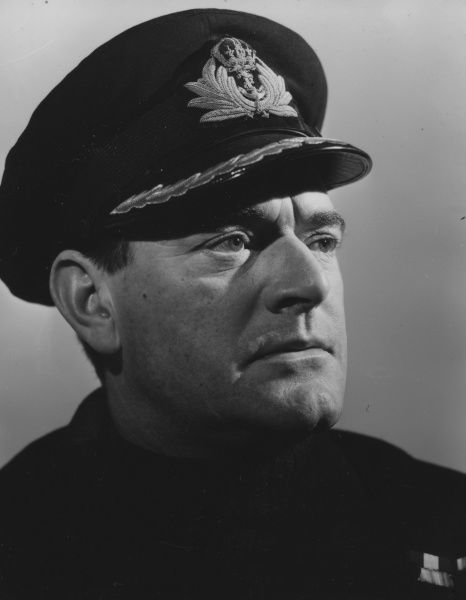 A portrait of Jack Hawkins as the main character, Ericson, of Charles Frend's war drama