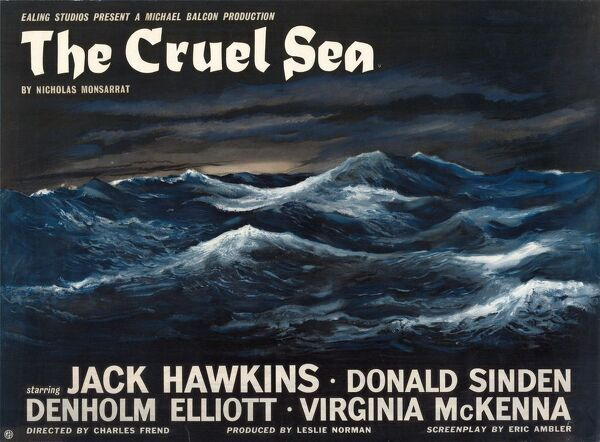 The Cruel Sea. UK Quad poster artwork for The Cruel Sea