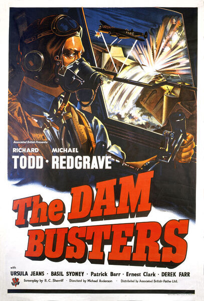 UK original One sheet artwork for The Dam Busters film with Richard Todd and Michael Redgrave