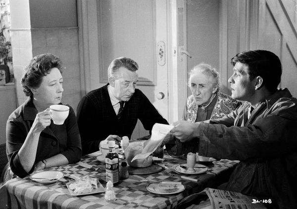 The fictional Fisher family at the breakfast table, with Mona Washbourne, Wilfred Pickles, Ethel Griffies and Tom Courtenay