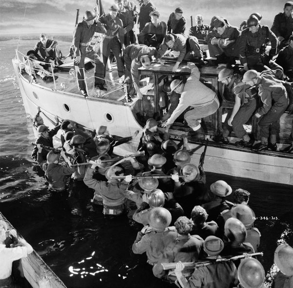 with British soldiers boarding one of the small boats