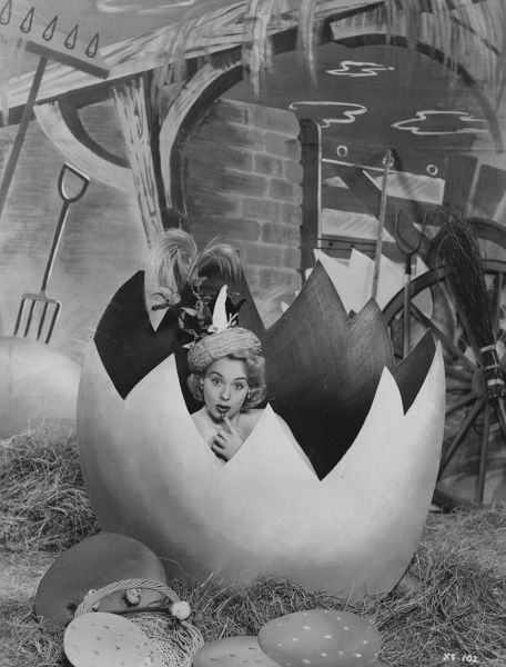 Happy Easter Greeting card style picture taken at Elstree Studios for an ABPC publicity shoot, the shoot also featured in a British Pathe newsreel at the time