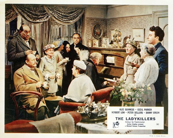A front of the house still image for The Ladykillers (1955) featuring Danny Green, Cecil Parker, Herbert Lom, Peter Sellers and Katie Johnson as Mrs. Wilberforce