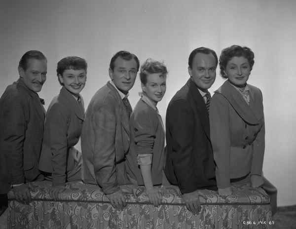 The main cast of Young Wives' Tale with Guy Middleton, Audrey Hepburn, Nigel Patrick, Joan Greenwood, Derek Farr and helen Cherry