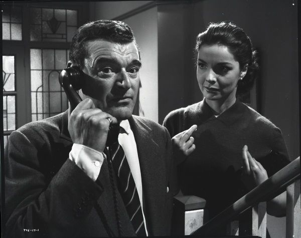 Man In The Sky. Jack Hawkins and Elizabeth Sellars in a scene from Man In The Sky