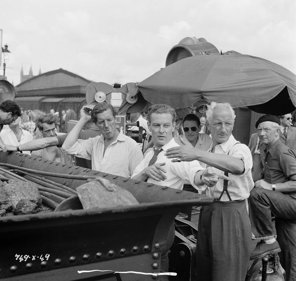 during the filming on location of The Titfield Thunderbolt in 1952