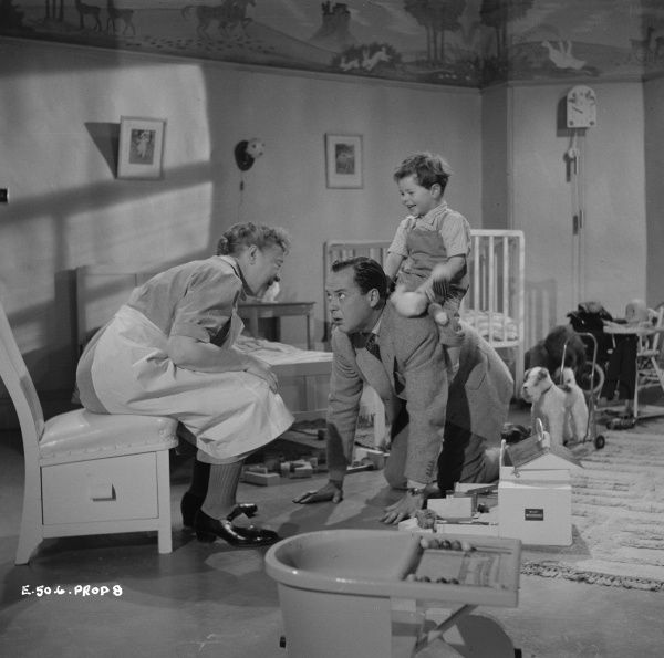 Nursery scene from Young Wives' Tale with Athene Seyler and Derek Farr
