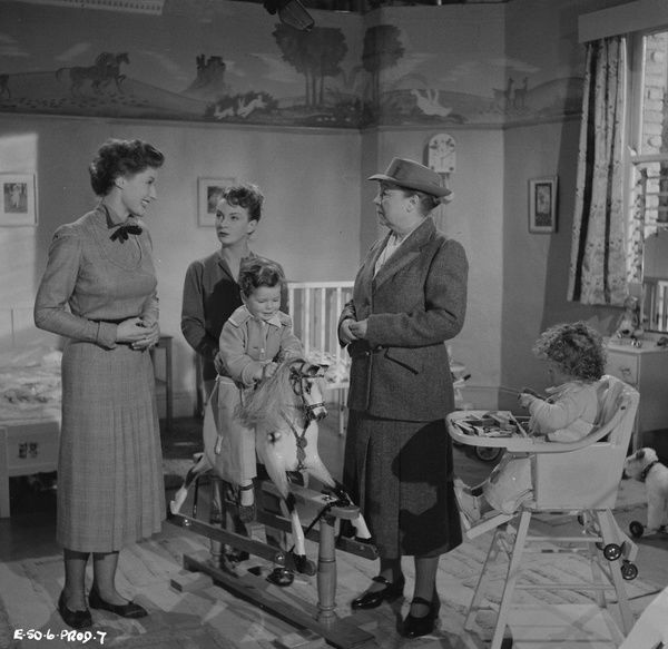 Helen Cherry, Joan Greenwood and Fabia Drake with the children of Young Wives' Tale (1951) directed by Henry Cass