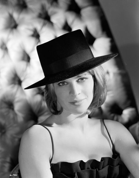 Julie Christie wears a a Spanish style hat in a publicity portrait for Billy Liar (1963)