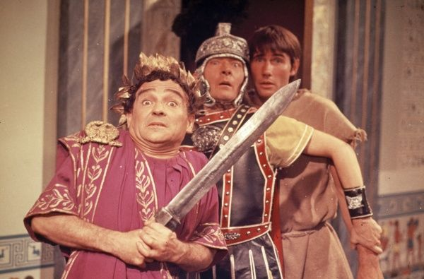 Kenneth Connor as Hengist Pod, Kenneth Williams as Julius Caesar and Jim Dale as Horsa in Gerald Thomas' Carry On Cleo produced by Peter Rogers