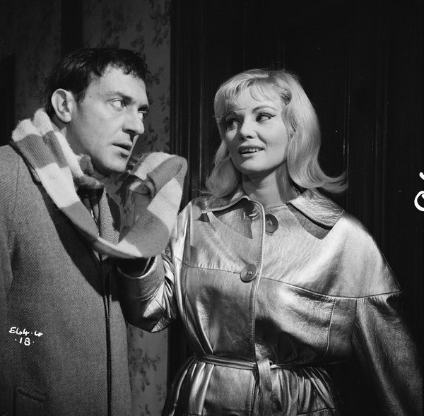 Harry H. Corbett as Percy Winthram and Diane Cilento as Cyrenne in a production image from Rattle of a Simple Man (1964)
