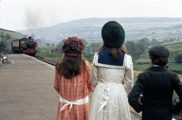 The main characters in Lionel Jeffries' The Railway Children (1970) on the platform of Oakworth station in Yorkshire