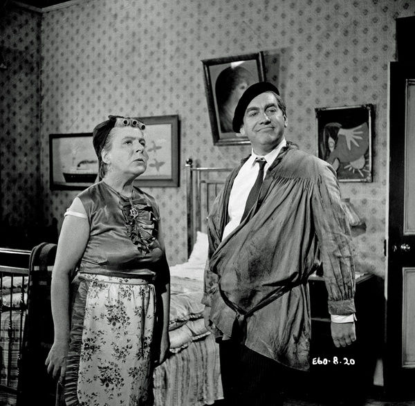The Rebel (1961). Irene Handl as Mrs. Crevatte and Tony Hancock on the set of The Rebel