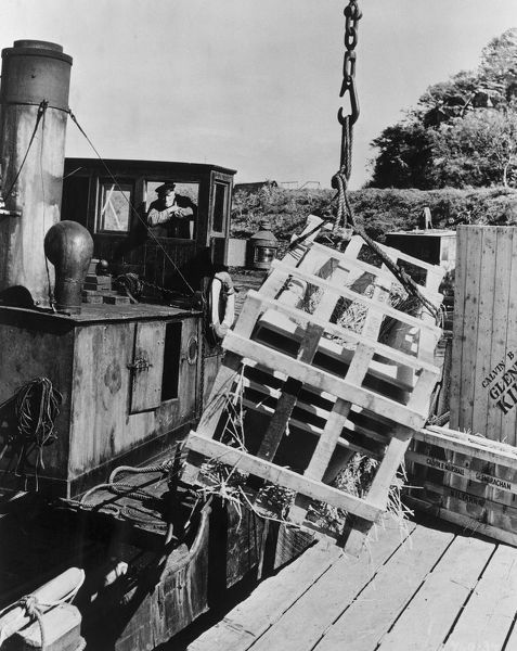 a crate is gingerly lowered on the boat