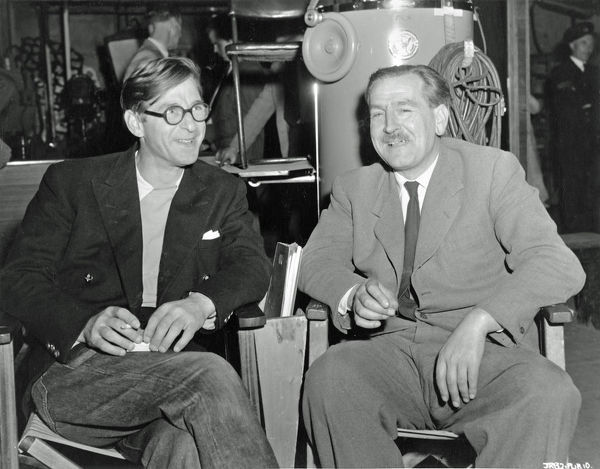 Director John Boulting and associate producer Ernest Holding in a pause of filming the comedy classic
