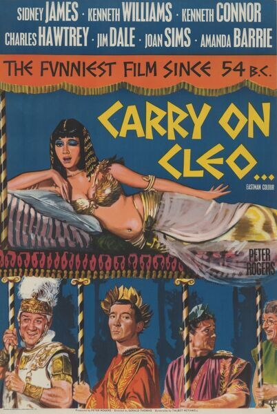 The famous Elizabeth Taylor's inspired 'Carry On Cleo' poster to promote Gerald Thomas' comedy with Amanda Barrie as the Egyptian Queen