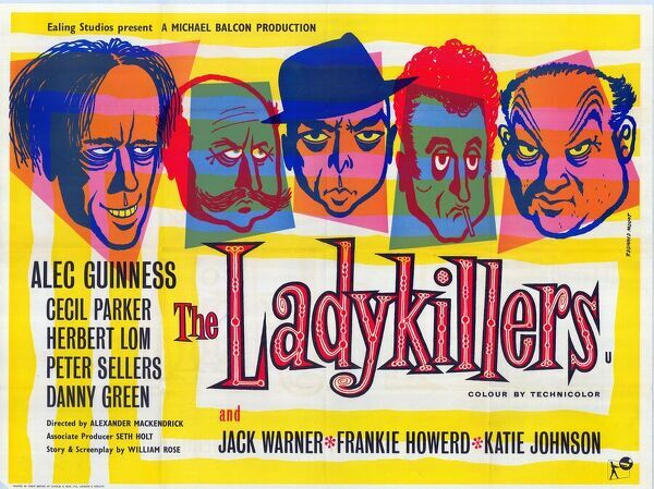 The poster designed by Reginald Mount for Ealing's The Ladykillers, directed by Alexander MacKendrick and featuring Alec Guinness, Peter Sellers, Cecil Parker, Herbert Lom and Danny Green