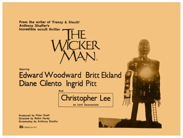 British Lion's artwork for the UK release of The Wicker Man, starring Christopher Lee as Lord Summerisle and Ed Woodward