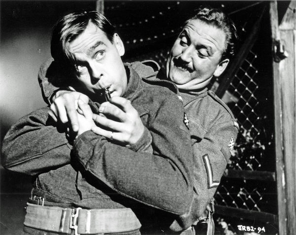 Ian Carmichael and David Lodge in a scene from Private's Progress (1956)