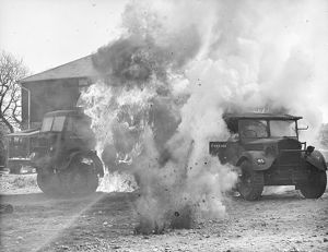 Army vehicles on fire