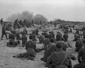 British Soldiers during a religious service held on the beach