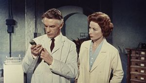 Dr. Decker and Margaret in the laboratory