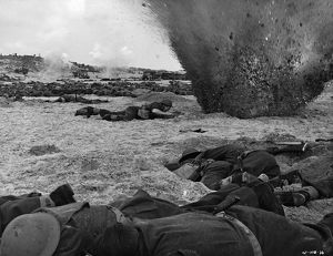 An explosion in a scene from Dunkirk (1958)