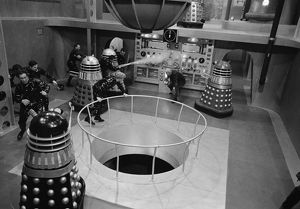 Inside the Daleks' spaceship with Peter Cushing as dr. Who