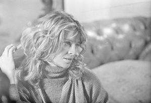 An intense close up of Julie Christie on the set of Don't Look Now
