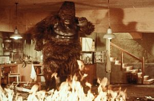 Konga in Dr. Decker's lab as it goes up in flames