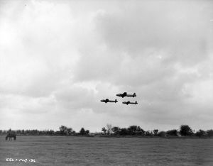 Three Lancaster bombers in formation