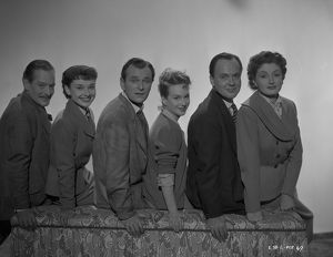 The main cast of Young Wives' Tale with Guy Middleton, Audrey Hepburn, Nigel Patrick