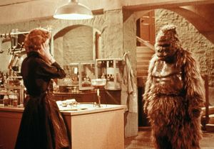 Margaret and Konga in the laboratory