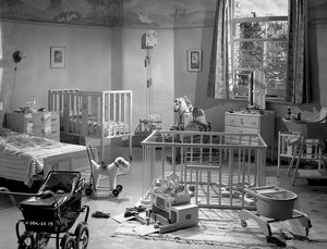 A nursery set for the filming of Young Wives Tale at Elstree Studios in 1951